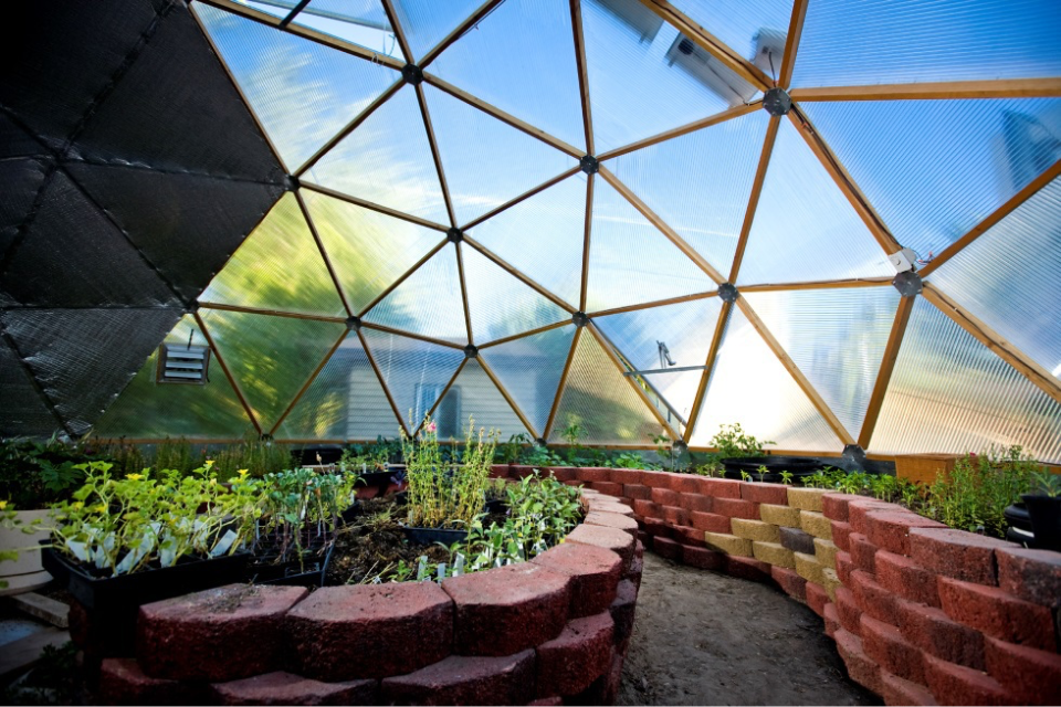Pavestone Bed Design in Geodesic Dome Greenhouse