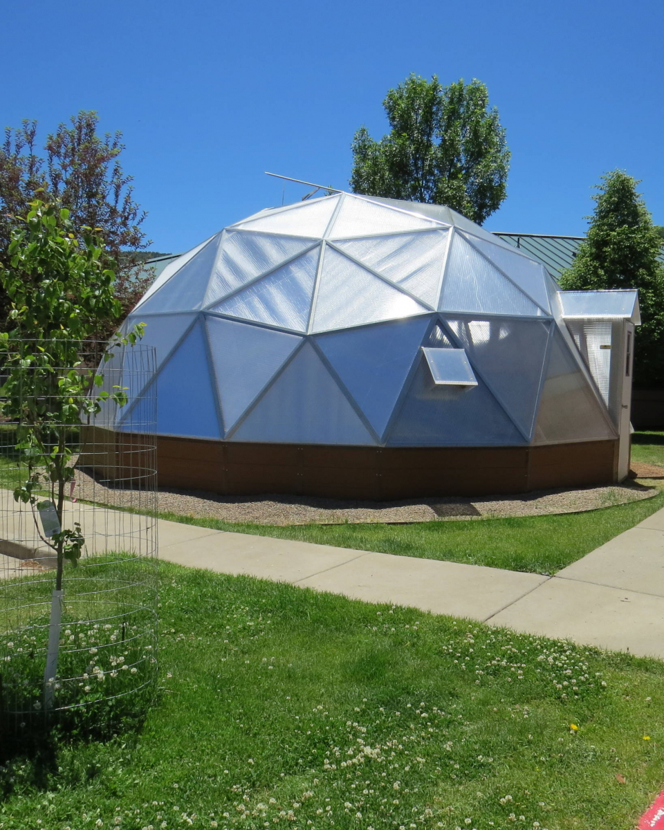 geodesic dome greenhouse at school