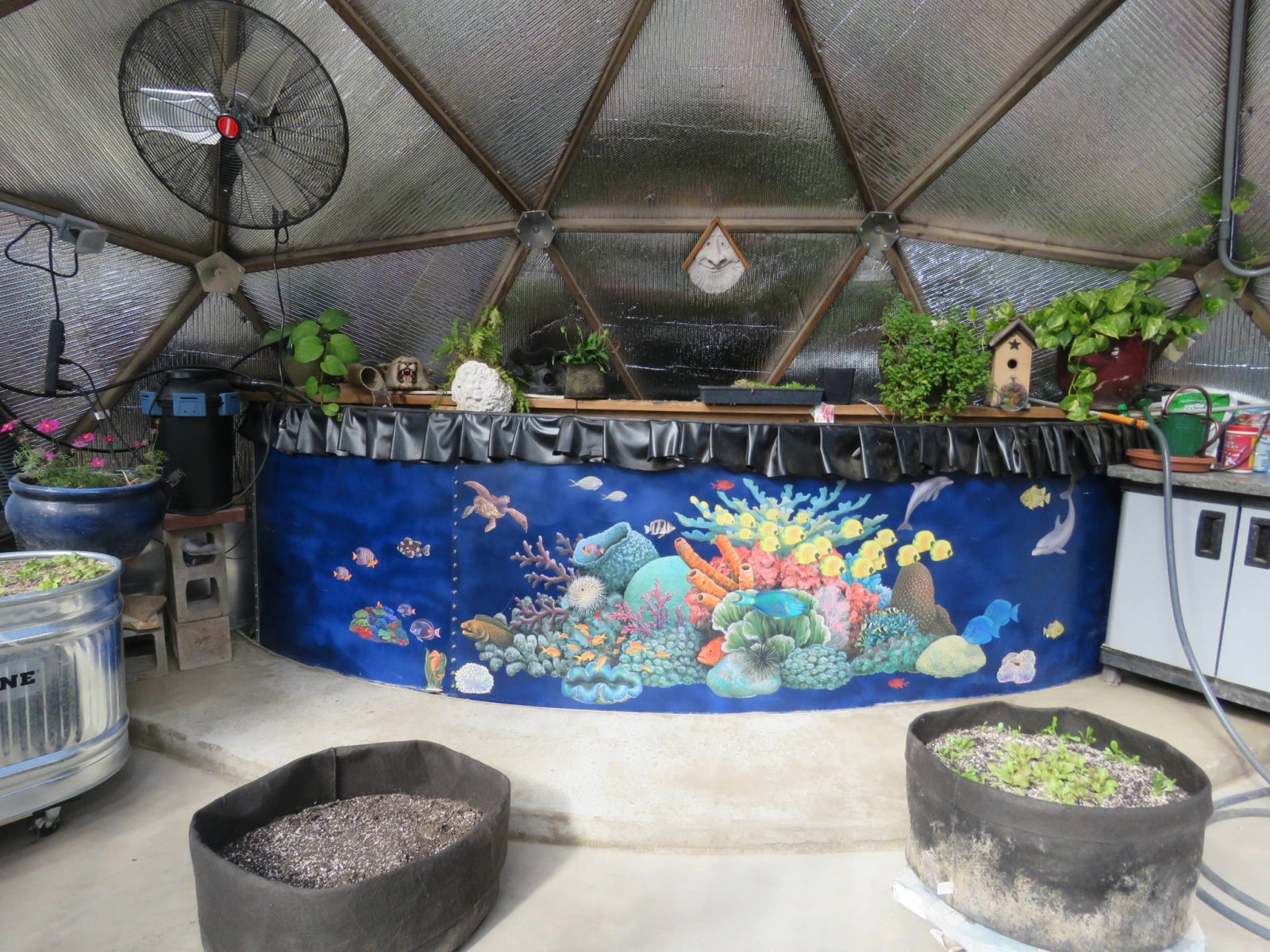 Water Tank Art in Growing Dome Greenhouse
