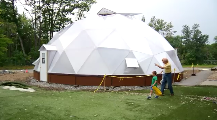 geodesic dome greenhouse in Maine