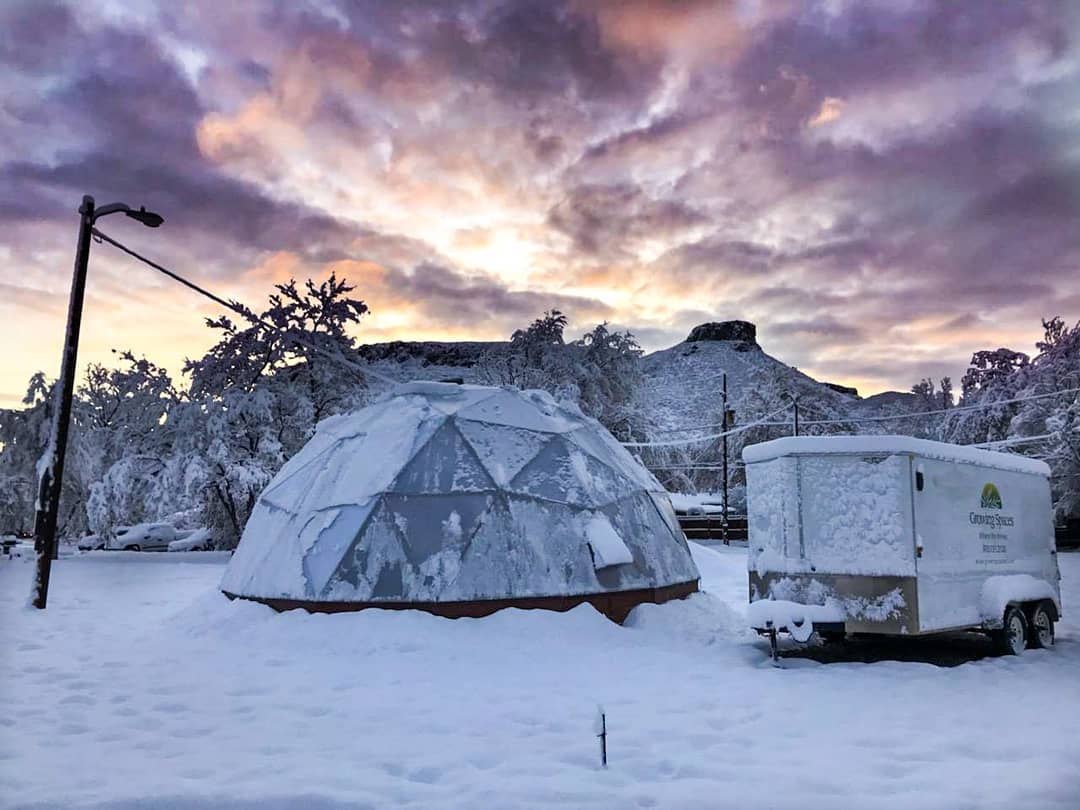 Winter Geodesic Greenhouse in Golden Colorado