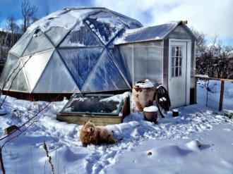 winter greenhouse with snow shed