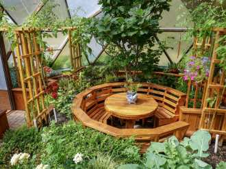 Beautiful table inside Growing Dome Greenhouse