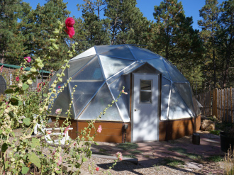 Growing Dome Greenhouse in spring