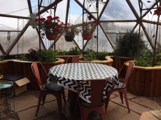 Patio Table in Growing Dome Greenhouse