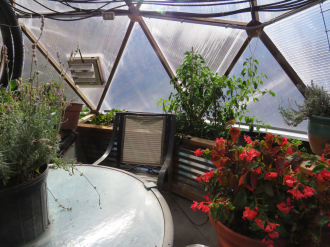 Cooling Fan in geodesic dome greenhouse