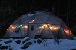 christmas lights on geodesic dome greenhouse