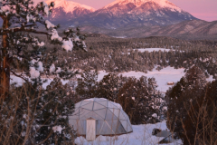 sunrise on Growing Dome Greenhouse