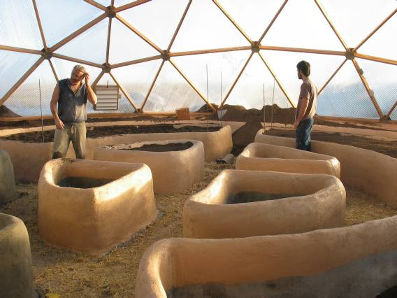 raised garden beds in the 42' growing dome
