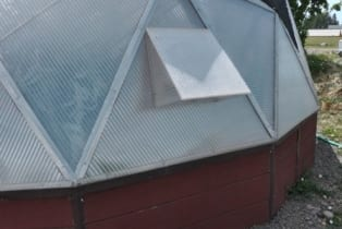 Exterior hood for the solar greenhouse fan.