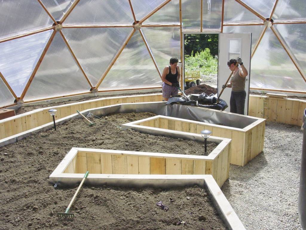 Rough Cut Planks perimeter raised beds in geodesic dome greenhouse