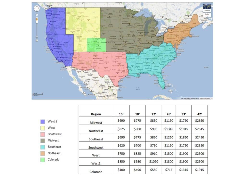 Shipping Regions Map