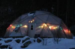 Christmas lights on Growing Dome