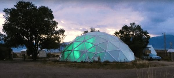 Greenhouse lights inside Growing Dome Greenhouse in Colorado
