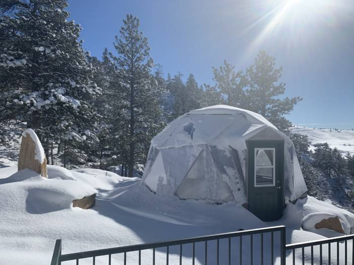 18 foot small growing dome greenhouse in winter
