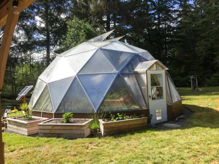 22 foot Growing Dome Geodesic Greenhouse with outer beds