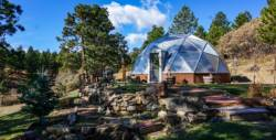 22 foot Growing Dome Geodesic Greenhouse with stone walkway
