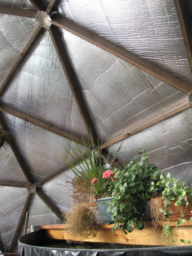 Reflectix Insulation in Geodesic Greenhouse