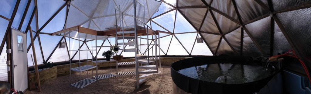 Aluminet Shade Cloth in Greenhouse -- Panorama
