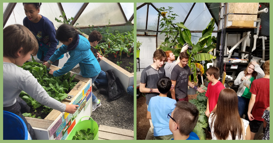 Students in Canada School Geodome Greenhouse