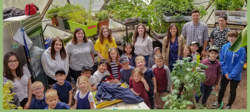 Students in Canadian School Geodome Greenhouse