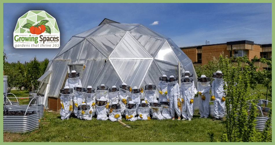 Class in front of dome wearing bee suits