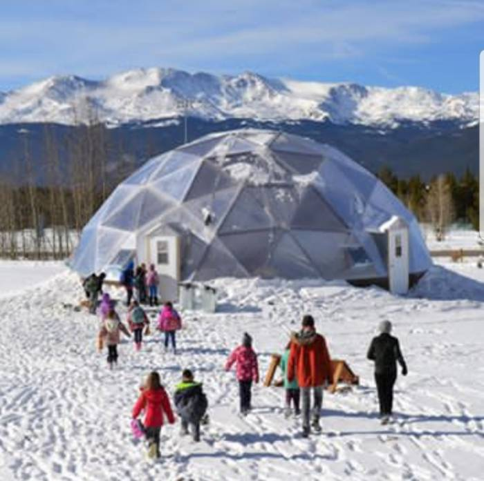 Community Growing Dome Greenhouse in Winter