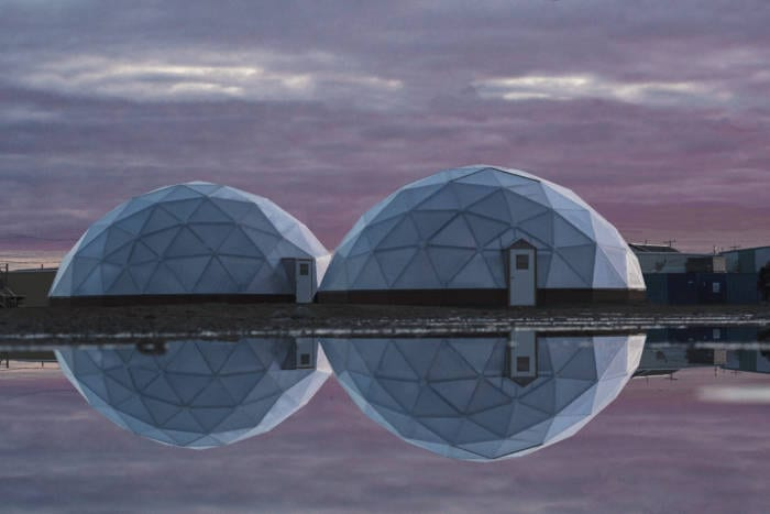 Two 42' Growing Domes Greenhouses located in Naujaat, Nunavut, Canada on the Arctic Circle