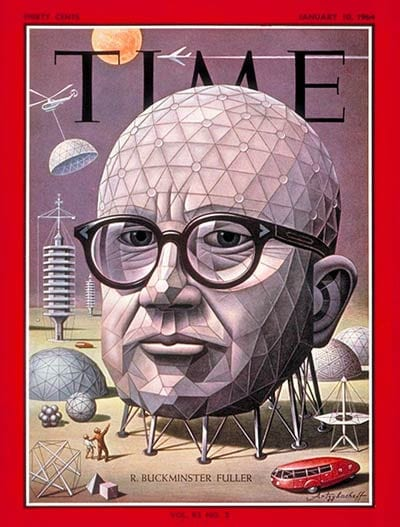 Buckminster Fuller Time Magazine Cover featuring geodesic domes