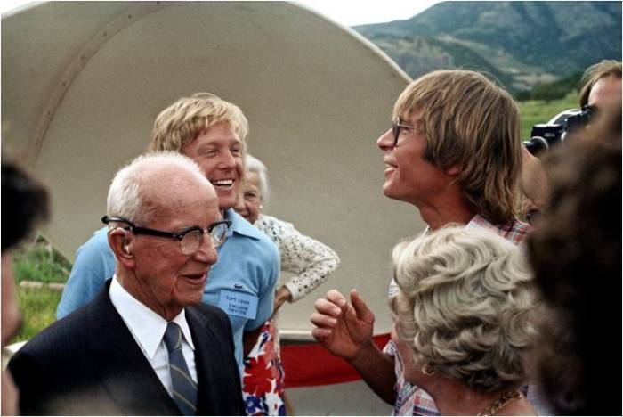 Buckminster Fuller, John Denver and Tom Crum at the Windstar Ranch