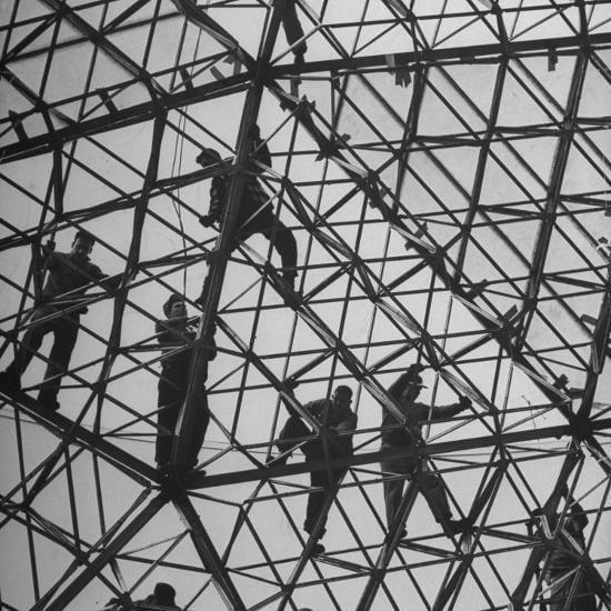 Ford Rotunda geodesic dome workers