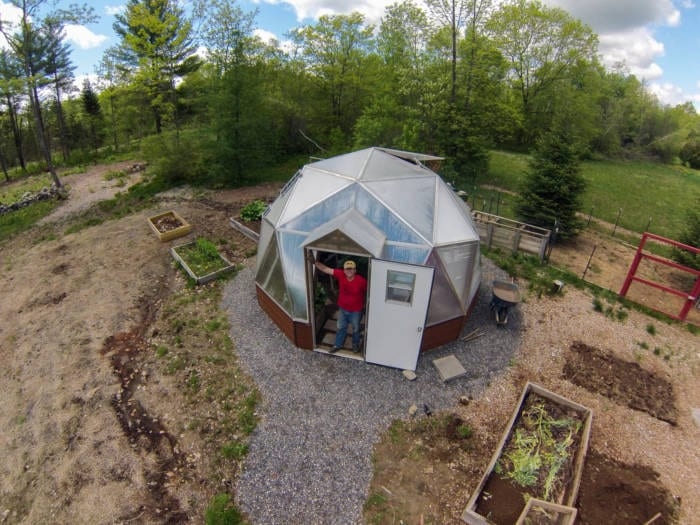 Overhead shot of a sustainable greenhouse in Maine
