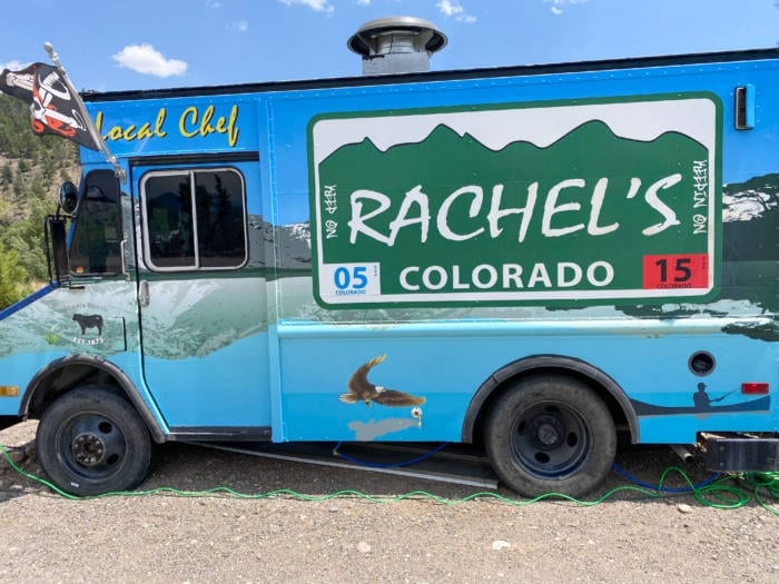 Rachels Food Truck next to the She Shed Greenhouse