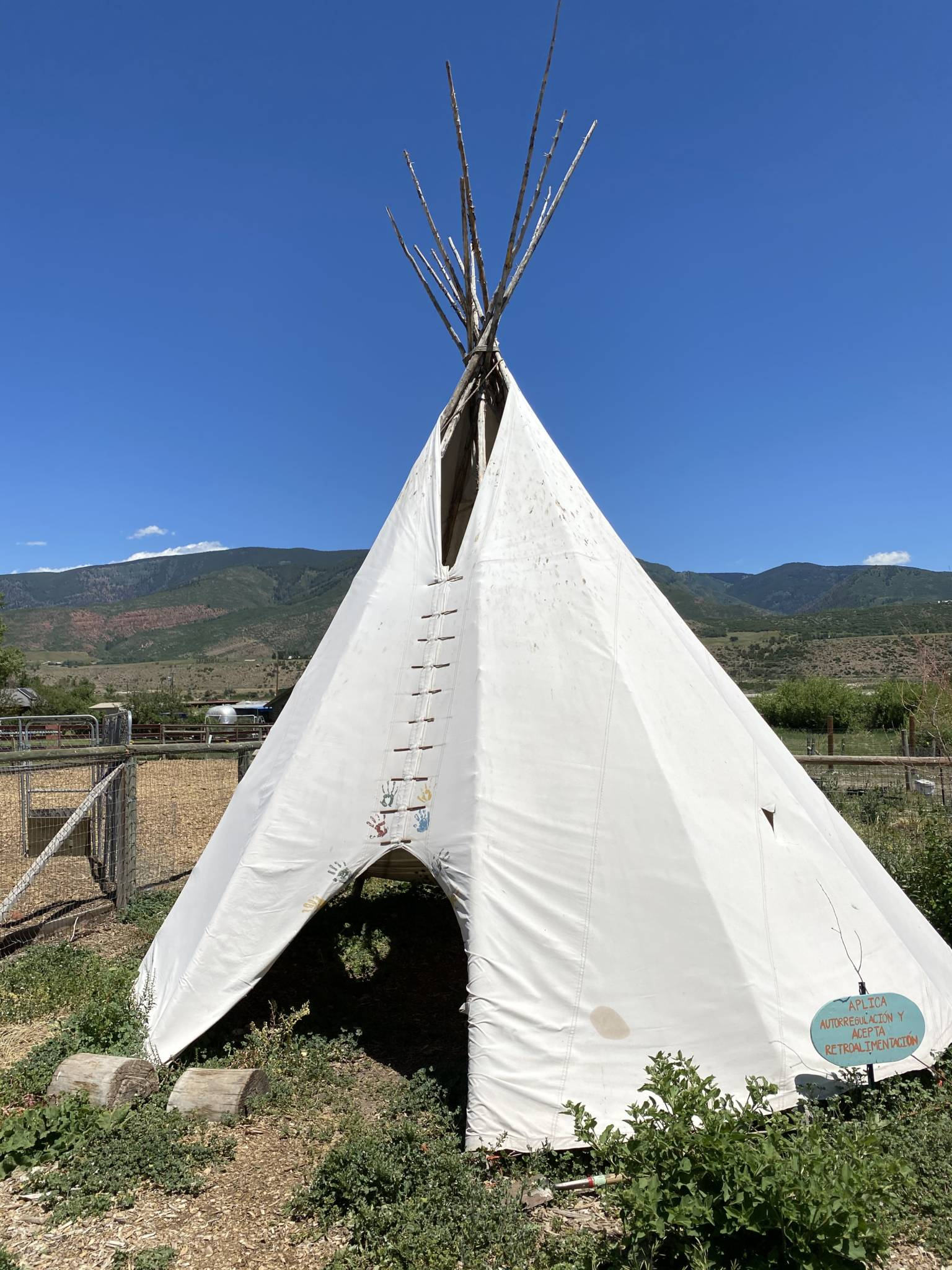 John Denver's handprints on a teepee at The Farm Collaborative in Aspen