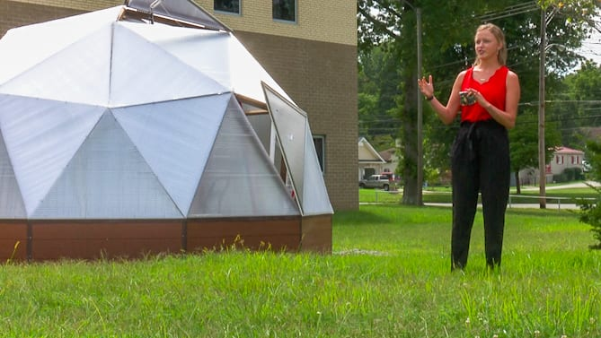 Growing Dome Greenhouse at St. Alban's High School in West Virginia